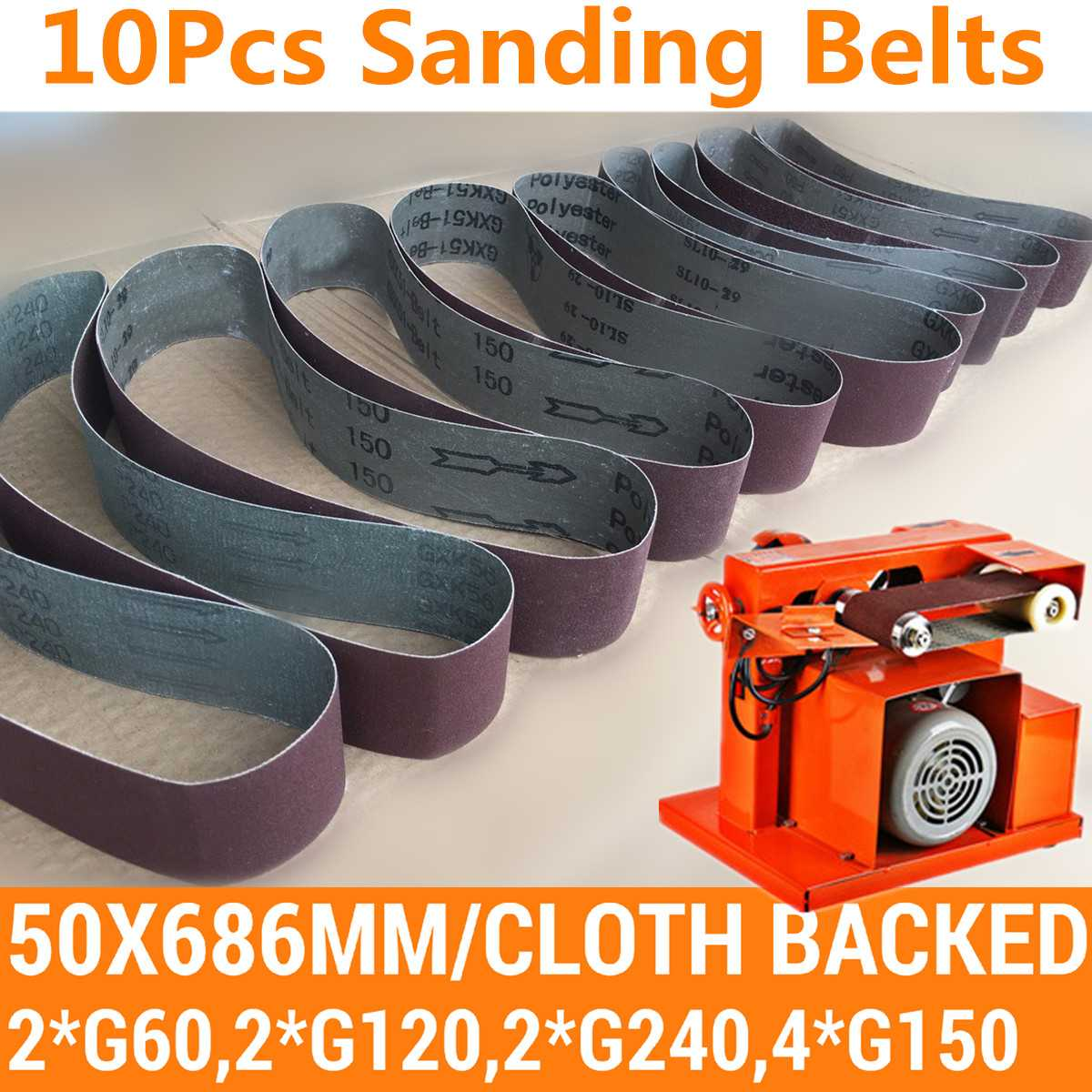 10pcs 50*686mm Abrasive Sanding Belts Sanding Paper For Belt Sanders Bench Grinder Grinding Polishing Tool 60-150 Grit