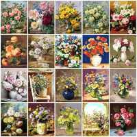 AZQSD Öl Malerei Blume In Vase Malerei Durch Zahlen Malen Blume DIY Leinwand Bild Hand Bemalt Dekoration SZYH6310