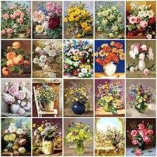 AZQSDภาพวาดสีน้ำมันดอกไม้ในแจกันภาพวาดดอกไม้DIYภาพมือทาสีตกแต่งบ้านSZYH6310