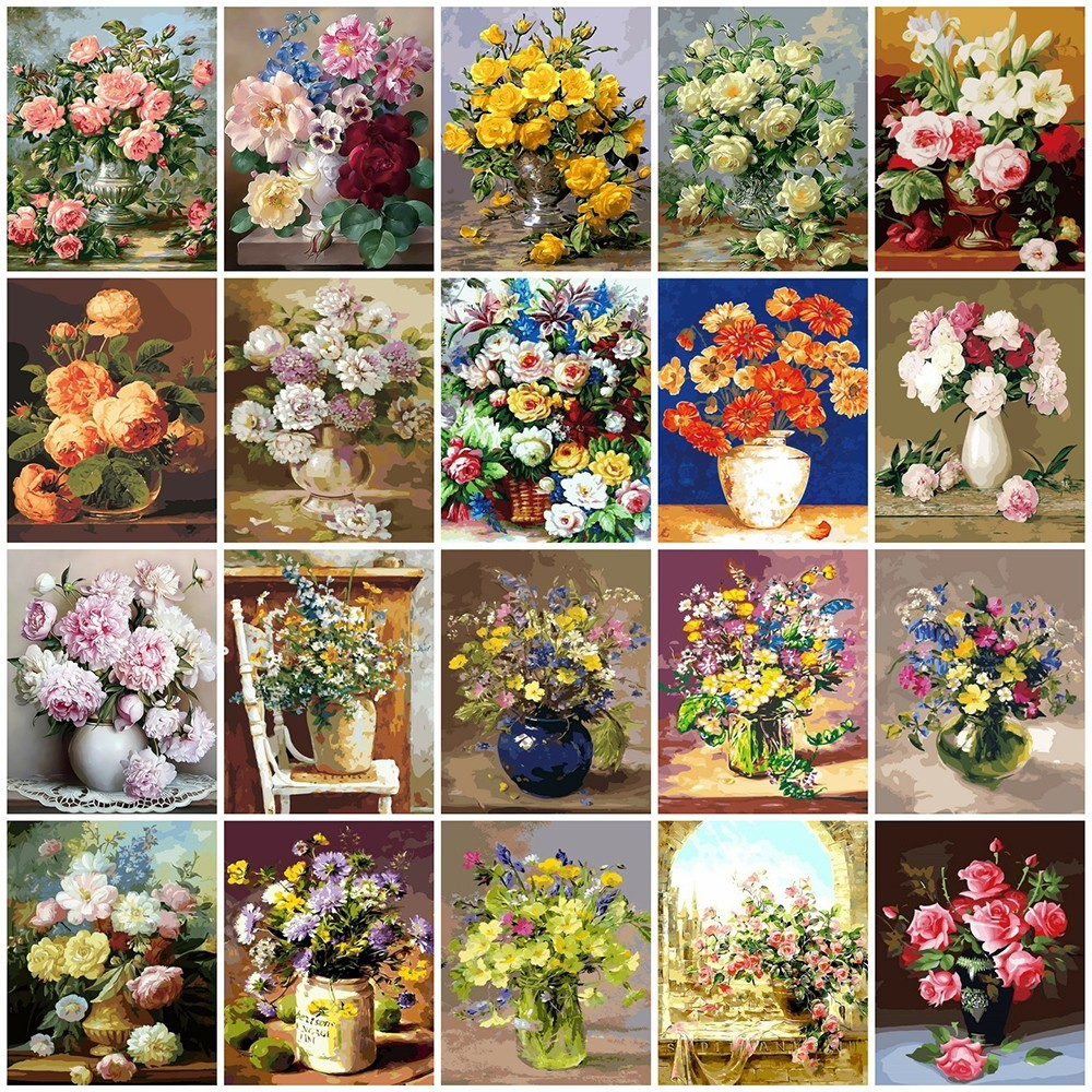 225 & US $5.65 56% OFF|AZQSD Oil Painting Flower In Vase Painting By Numbers Paint Flower DIY Canvas Picture Hand Painted Home Decoration SZYH6310-in Paint ...