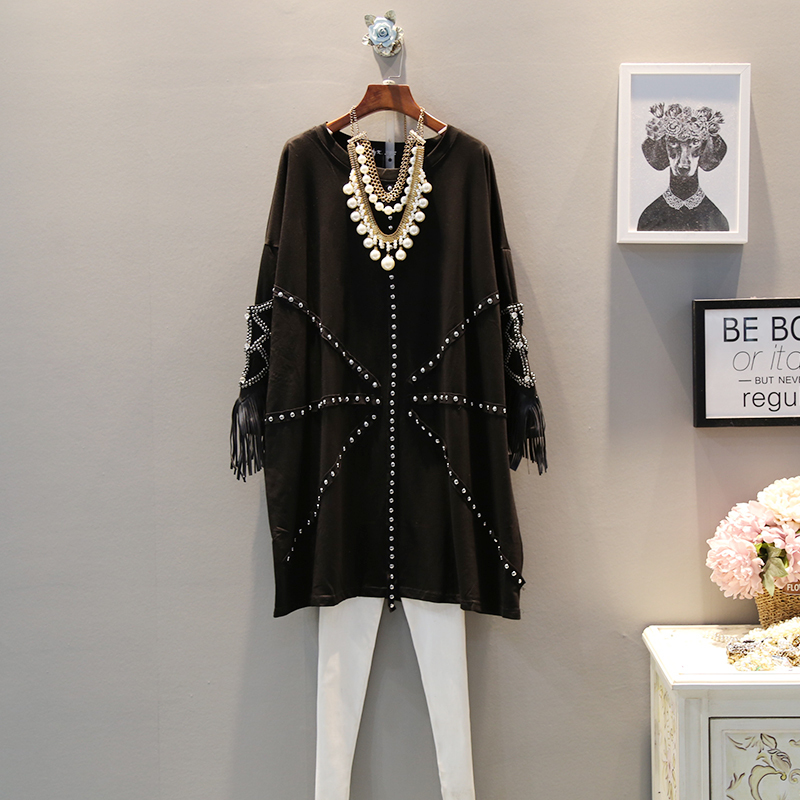 EWQ 2019 Spring Autumn Round Collar Long Sleeve Tassel Patchwrok Beading Pullovers Casual Loose Dress
