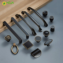 1 pc American Style Brass Handles and Knobs Wardrobe Drawer Pulls Kitchen Cabinet Black Furniture Hardware