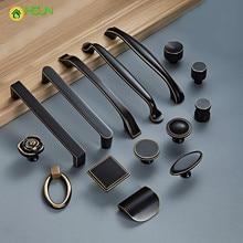 1 pc American Style Brass Handles and Knobs Wardrobe Drawer Pulls Kitchen Cabinet Black Furniture Hardware