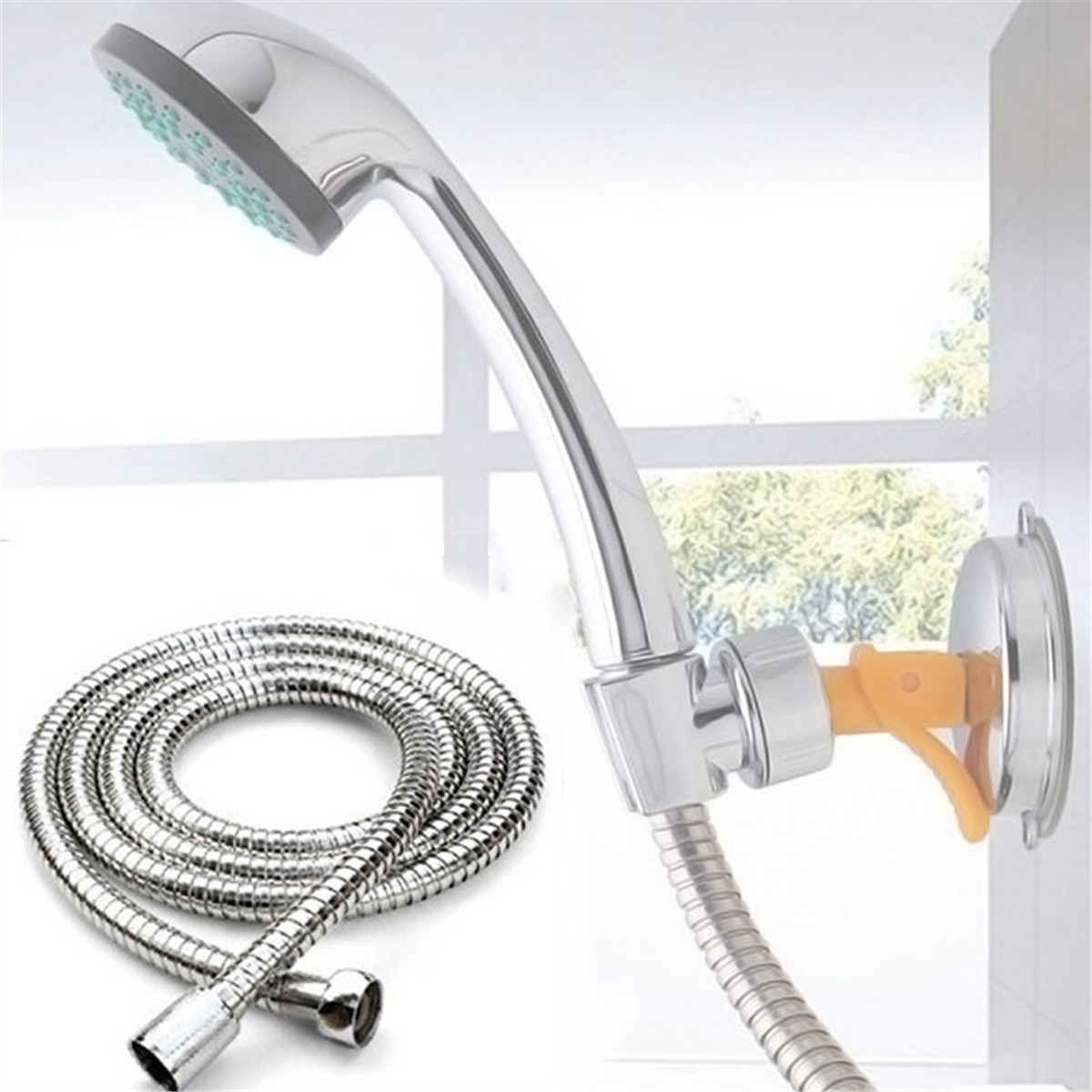 1.5m Flexible Shower Hose Extension Stainless Steel Chrome Plumbing Hoses Soft Pipes Bathroom Heater Water Head Pipe Connector
