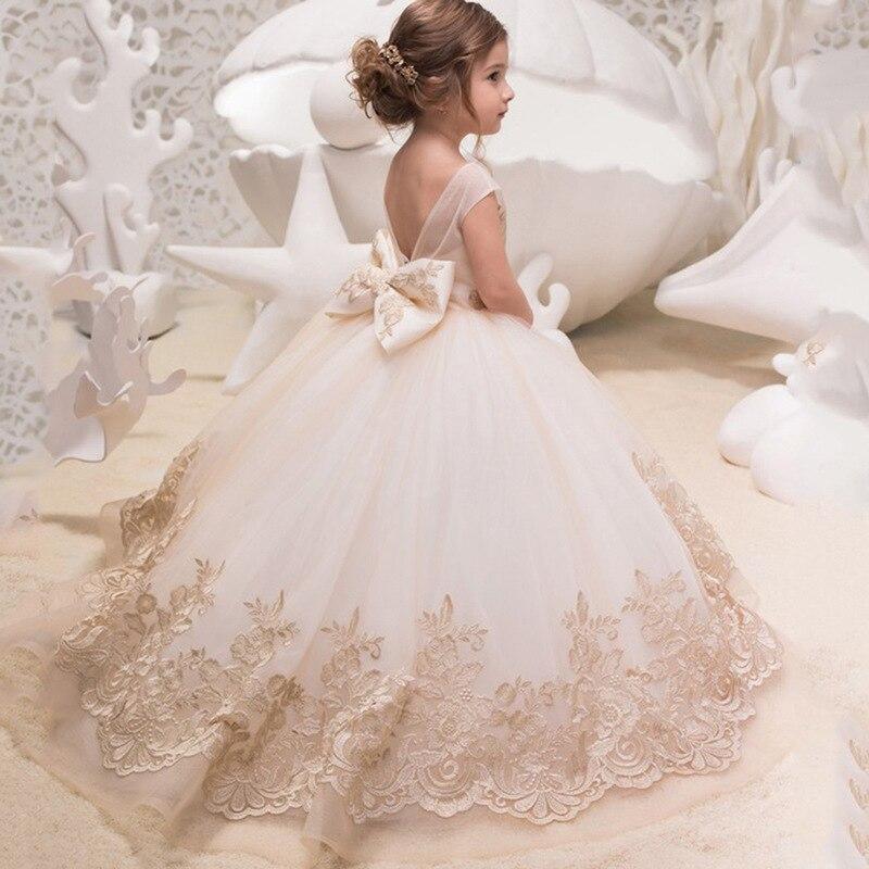 Enfants fleur filles robe bébé spectacle fête d'anniversaire robes princesse dentelle sans manches longues robes H363