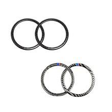 สำหรับ BMW 3 Series E90 2005 2006 2007 2008 2009 2010 2011 2012 X1 E84 2pcs คาร์บอนไฟเบอร์รถยนต์ประตูลำโพงแหวนฝาครอบลำโพง