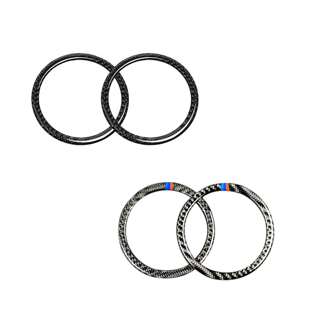 For BMW 3 Series E90 2005 2006 2007 2008 2009 2010 2011 2012 X1 E84 2pcs Carbon Fiber Car Door Speaker Ring Loudspeaker Cover