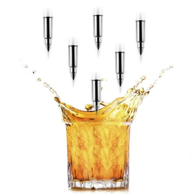Creative Stainless Steel Bullet Whiskey Stone Ice Cube Whiskey Glass Beer Cooler Reusable Cooling Stone Gift Bar Tools Set