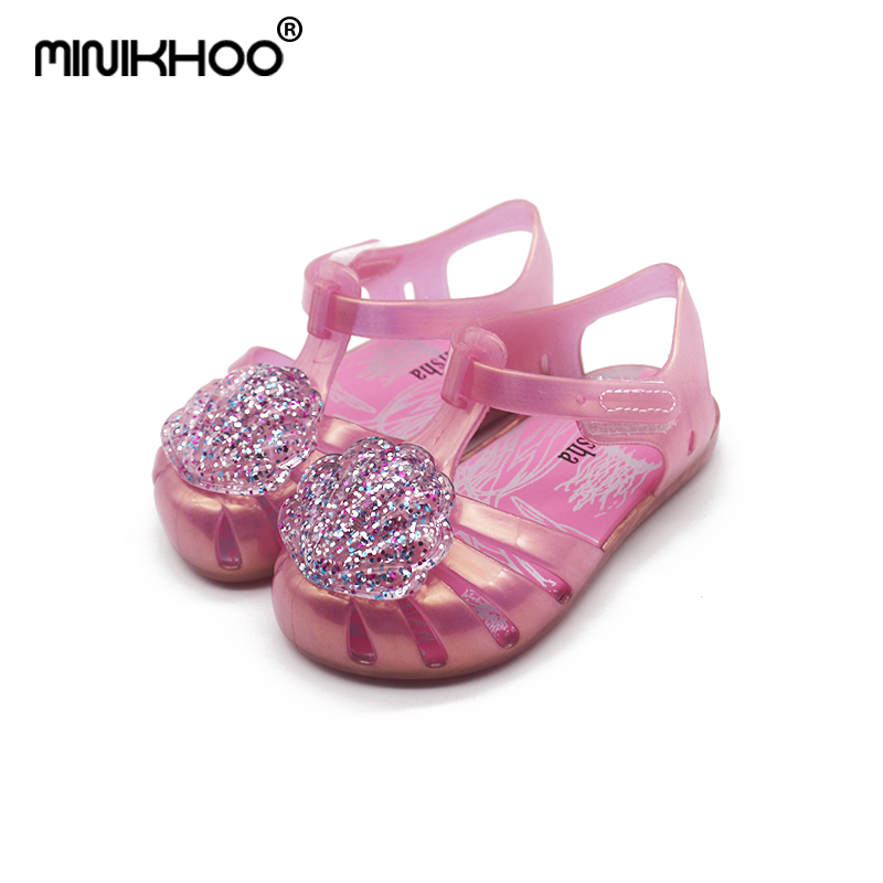 Mini Melissa Flash Shell Cute Girls Jelly Sandals 2019 New Melissa Children Shoes Baby Sandals Breathable Melissa Princess Shoes