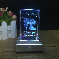 3d Laser Engraved Crystal Figurine Glass Cube Figurine With Led Light Miniature For Love Gifts Home Decor House Ornaments
