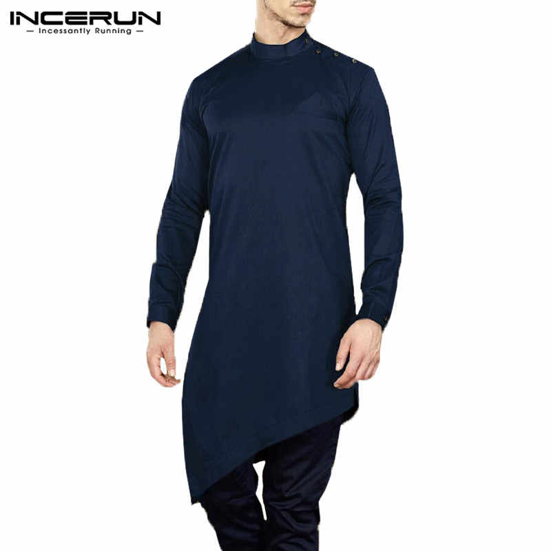 INCERUN メンズシャツ Kurta スーツ長袖固体男性トップスイスラム教徒イスラムアラブカフタンカジュアル不規則な裾男性服 2019