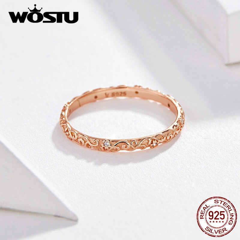 WOSTU minimalistyczny pierścionek z różowego złota 925 srebro przezroczysta cyrkonia delikatne pierścionki Finger dla kobiet biżuteria ślubna luksusowa CQR514