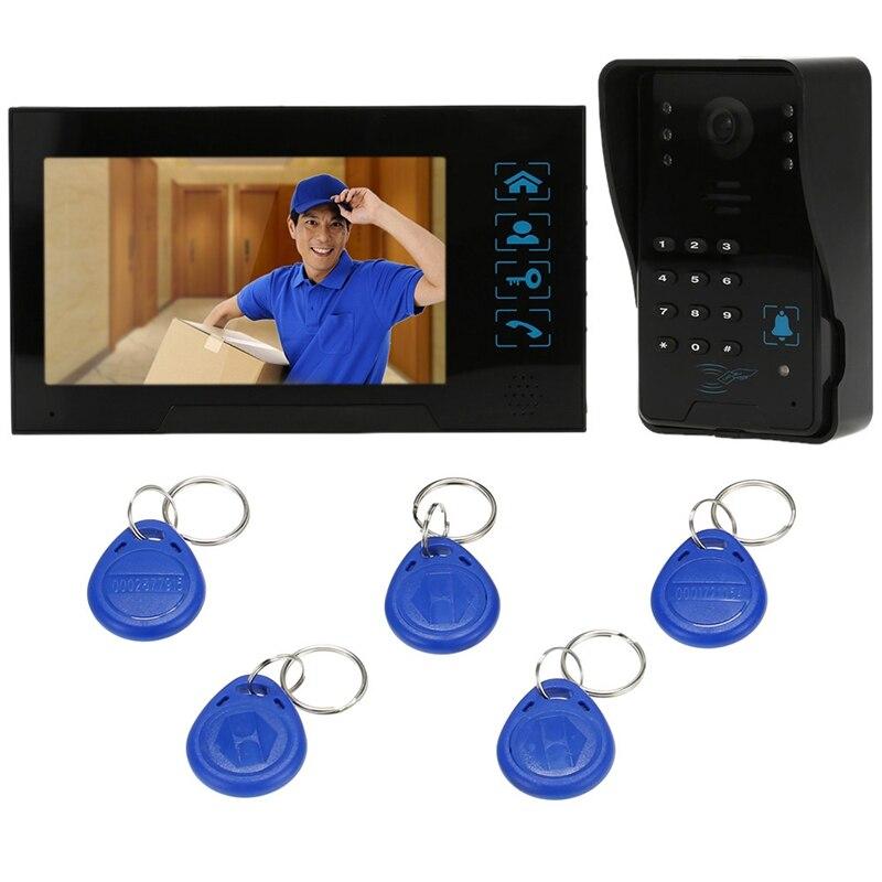 Clé de presse filaire 7 pouces vidéo porte téléphone interphone sonnette système Kit Vision nocturne 1 Rfid clavier Code Ir caméra + 1 moniteur - 6