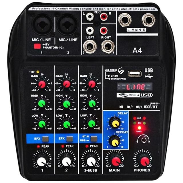 وحدة تحكم لمزج الصوت مقاس A4 بمقبس أوروبي تعمل بالبلوتوث ومزودة بوصلة Usb وتسجيل تشغيل الكمبيوتر بقوة 48 فولت مع خاصية الوهمية لتأخير الطاقة من 4 قنوات Usb A