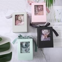 Маленький бумажный ящик для цветов, коробка с лентой, букет роз, Цветочная упаковочная коробка, вечерние подарочные сумки, подарок на день Святого Валентина, упаковка