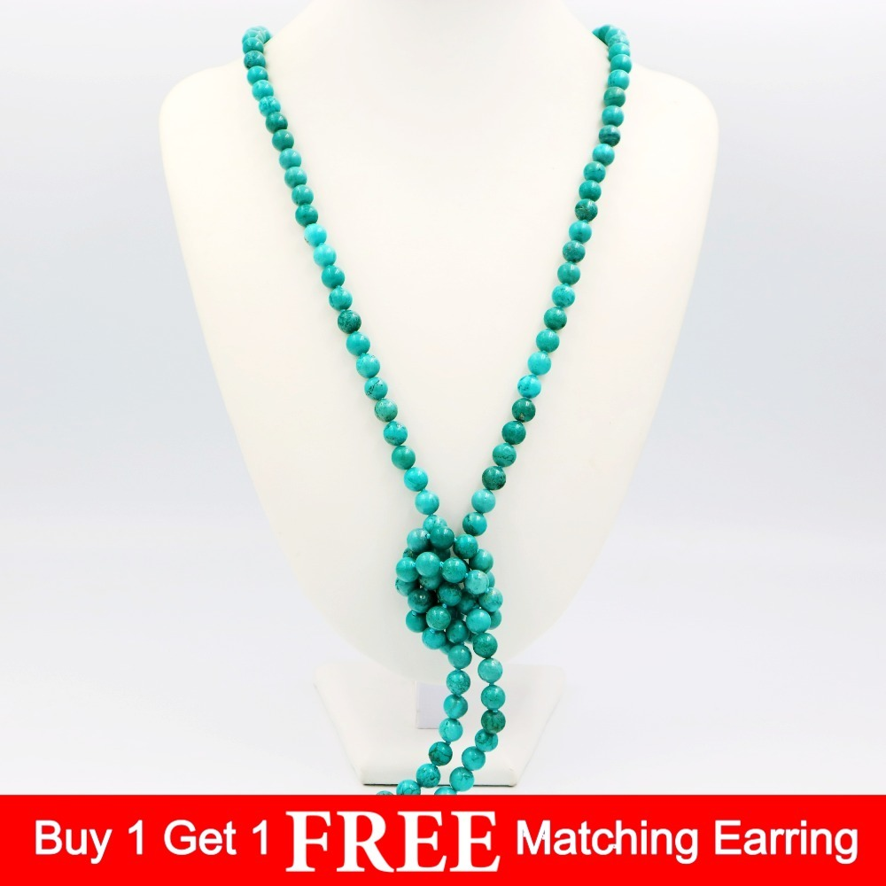 LiiJi Unique Fashion Necklace Green Turquoises 8mm Round Beads Long  Sweather Necklace 51''/130cm