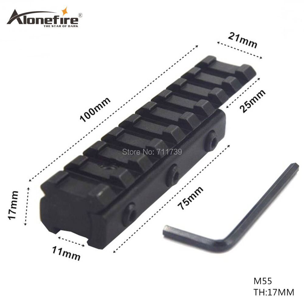 AloneFire 1PC M55 Hunting Dovetail Extend 11mm To 20mm Weaver Rail Adapter Mount Extend 20mm Picatinny Weaver Mount Scope Bases