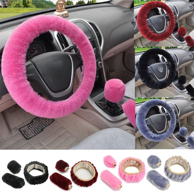 3Pcs Soft Plush Spring Steering Wheel Cover Kit With Stop Lever+Hand Brake Wool Cover Winter Warm Auto Car Interior Accessory