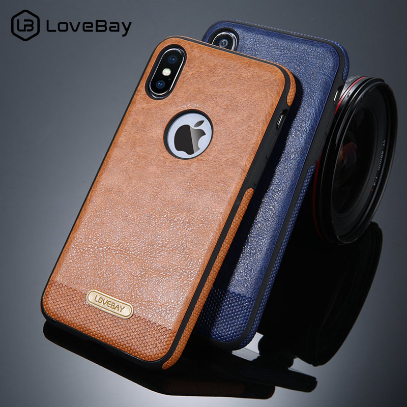 Lovebay Business PU <font><b>Leather</b></font> Phone <font><b>Case</b></font> For <font><b>Iphone</b></font> XS X 5 5S 6 <font><b>6S</b></font> 7 8 Plus Splice Ultra-thin Luxury Phone Protector Back Cover image