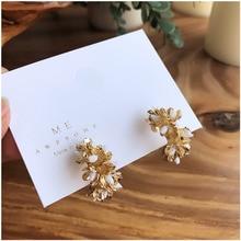 2019 Korea Earrings Vintage Gold Color Copper Alloy Geometrical Irregular Metal Big Flower Hoop Jewelry For Women Gift