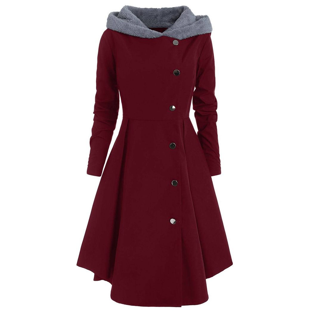 95363abfed5 Women Fashion Winter Long Trench Coat Black Gothic Button Vintage Overcoat  Tunic Slim Lady Outwear Hooded