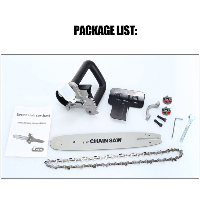 11.5 Inch Electric Chain Saw DIY Chainsaw Bracket Set For 10mm and 11.5mm Angle Grinder To Chainsaw Woodworking Power Tool 4