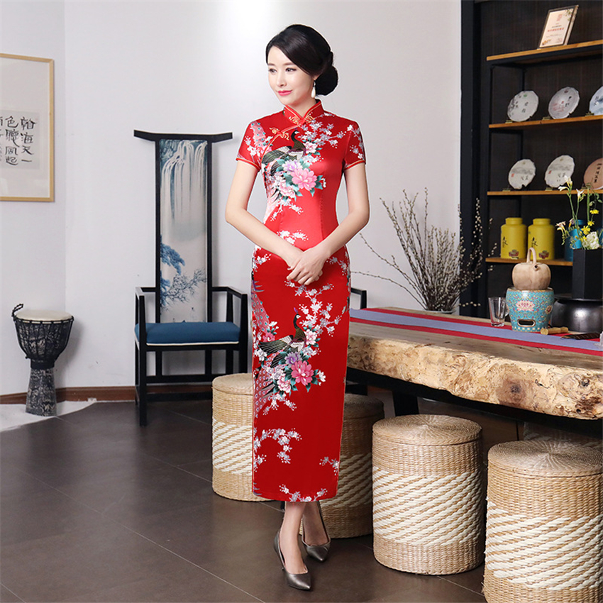 11Colors Woman Chinese Wedding Cheongsam China Traditional Elegant Flower&Peacock Split Qipao Women Silk Robe Bodycon Dresses