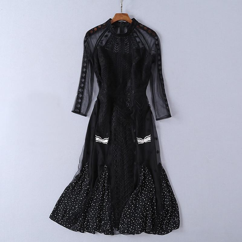 Transparent Polka Broderie Sexy Mesh 2019 Étoiles Longue Longues Manches Casual Imprimer Noir À Robe Dots Femmes Stand Col xPHwFq4w