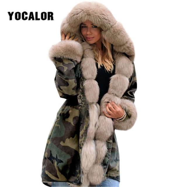 5cdb38aeaff Camouflage Warm Winter Jacket Female Long Faux Fur Coat Parka Women Plus  Size Manteau Femme Hat Outerwear Snow Wear Hood Autumn