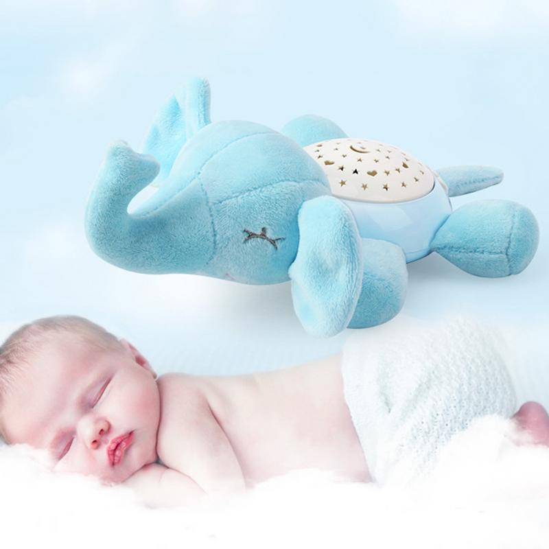 LED Baby White Noise Sound Machine Shower Sleep Soother Stuffed Animal Elephant For Baby With Sleep Aid Night Light Plush Toy