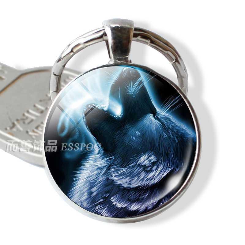 LLavero de cabujón de cristal de Lobo Blanco, llavero de plata, llavero, joyería de lobo agresivos, accesorios de moda, colgante, regalo para hombres y mujeres