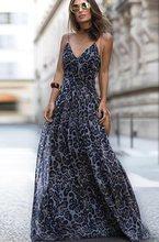 e8187ad9a88 Женский леопардовый принт v-образный вырез без рукавов Длинные Макси платья  Сарафан пляжный летний Спагетти