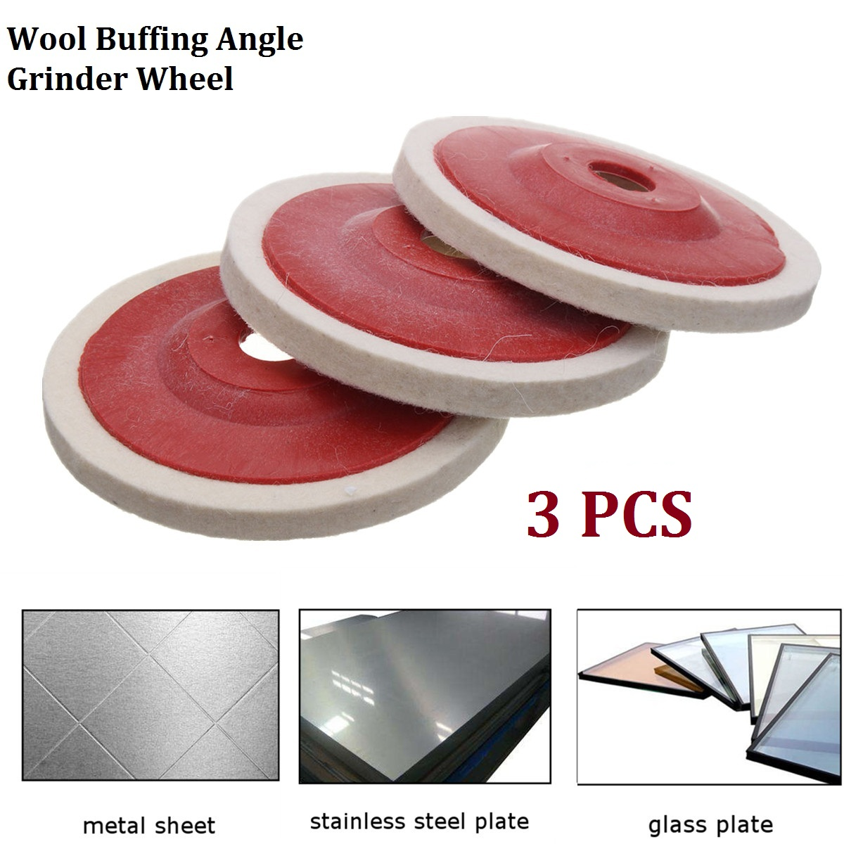 3pcs 100mm 4 Inch Wool Buffing Angle Grinder Wheel Felt Polishing Disc Pad Polishing Wheel