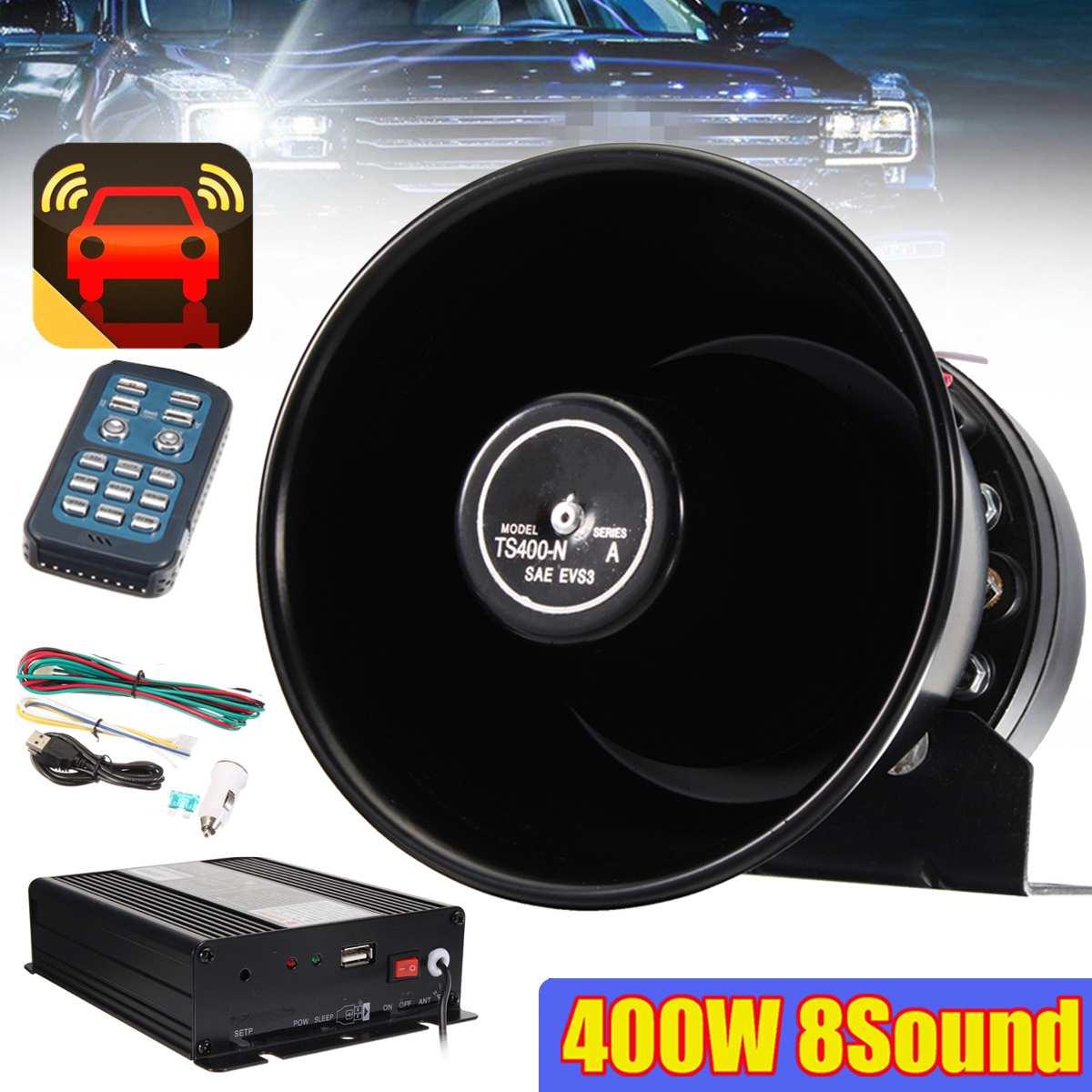 Voiture avertissement 400 W Pour Politiques klaxon sirène PA haut parleur MIC 8 Tone Sound Haut-Parleur Pour 12 V DC