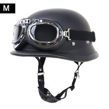 купить German Helmet Locomotive Retro Helmet Motorcycle Helmet Outdoor Riding Half Helmet with Glasses недорого