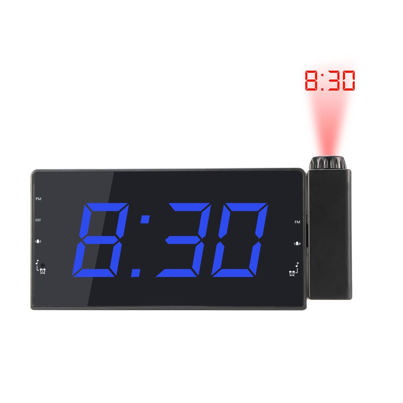 Digital Projector Radio Alarm Clock Snooze Timer Temperature LED Display USB Charging Cable Table Wall FM Radio Clock