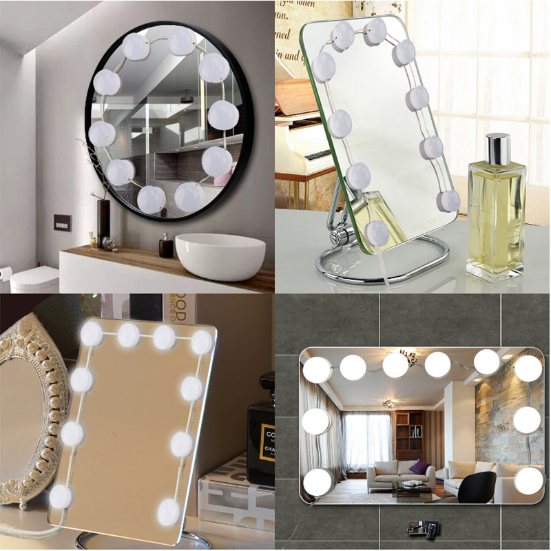 Hollywood Style LED Vanity Mirror 360 Rotation Lights Kit ...