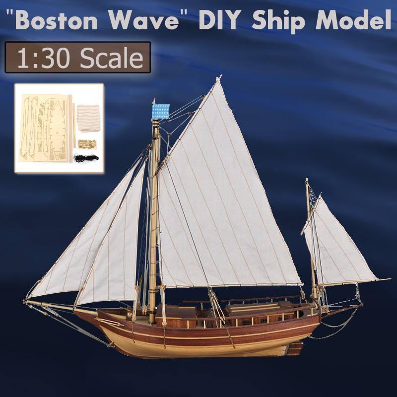 Classique bateau à voile modèle en bois bateau assemblage modèle bricolage Kits en bois bateau à voile 1:30 échelle décoration jouet cadeau