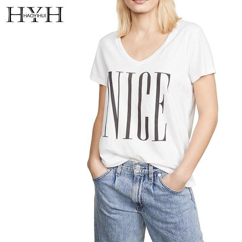 HYH Haoyihui Letter Print Tshirt White Short Sleeve Women Tops Fashion Summer Cotton Tees Freeshipping New