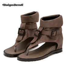 Retro Rome Flip Flop Gladiator Sandals Woman Summer Wedges Hight Cut Buckle Belt Girls Cover Heel Casual Shoes