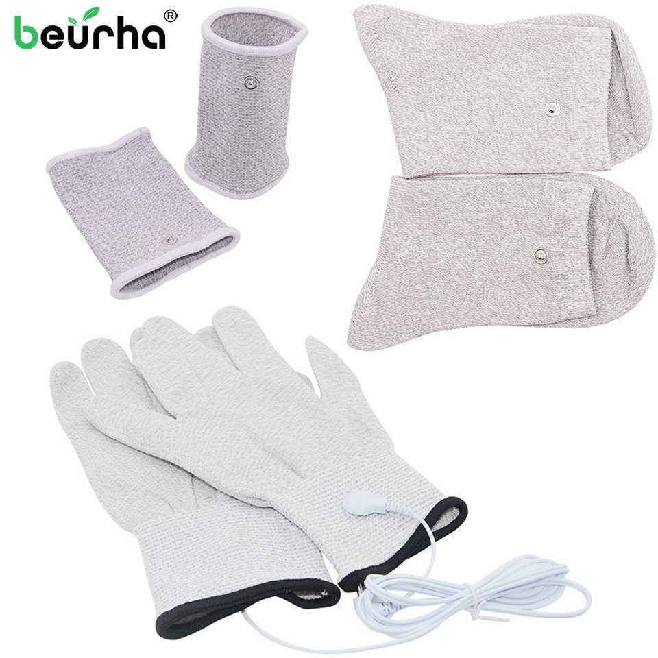 NEW Conductive Silver Fiber TENS/EMS Electrode Therapy Gloves+Socks+ Bracers + Cable Electrotherapy Unit For Phycical Therapy