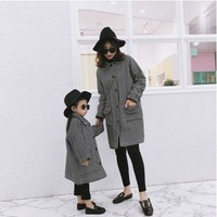 Family Matching Outfits Striped Woolen Coat Mommy And Me Clothes Outwear Autumn Winter Long Trench Coat Baby Girls Jackets 1 6 Y
