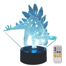 Dinosaur Toys Night Lights for Kids 7 Colors Changing 3D Night Light with Smart Press & Remote Control Bedside Lamp for Kids f baby bedside rgb lights lamp smart night lights xiaomi yeelight indoor desktable lamp touch control bluetooth for phone
