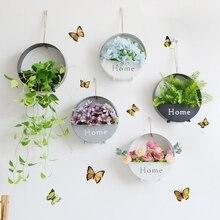 Модный настенный цветочный висячий горшок для растений, настенная металлическая корзина для растений, комнатный Сад, Цветочные горшки, круглый крючок, стойка для украшения дома