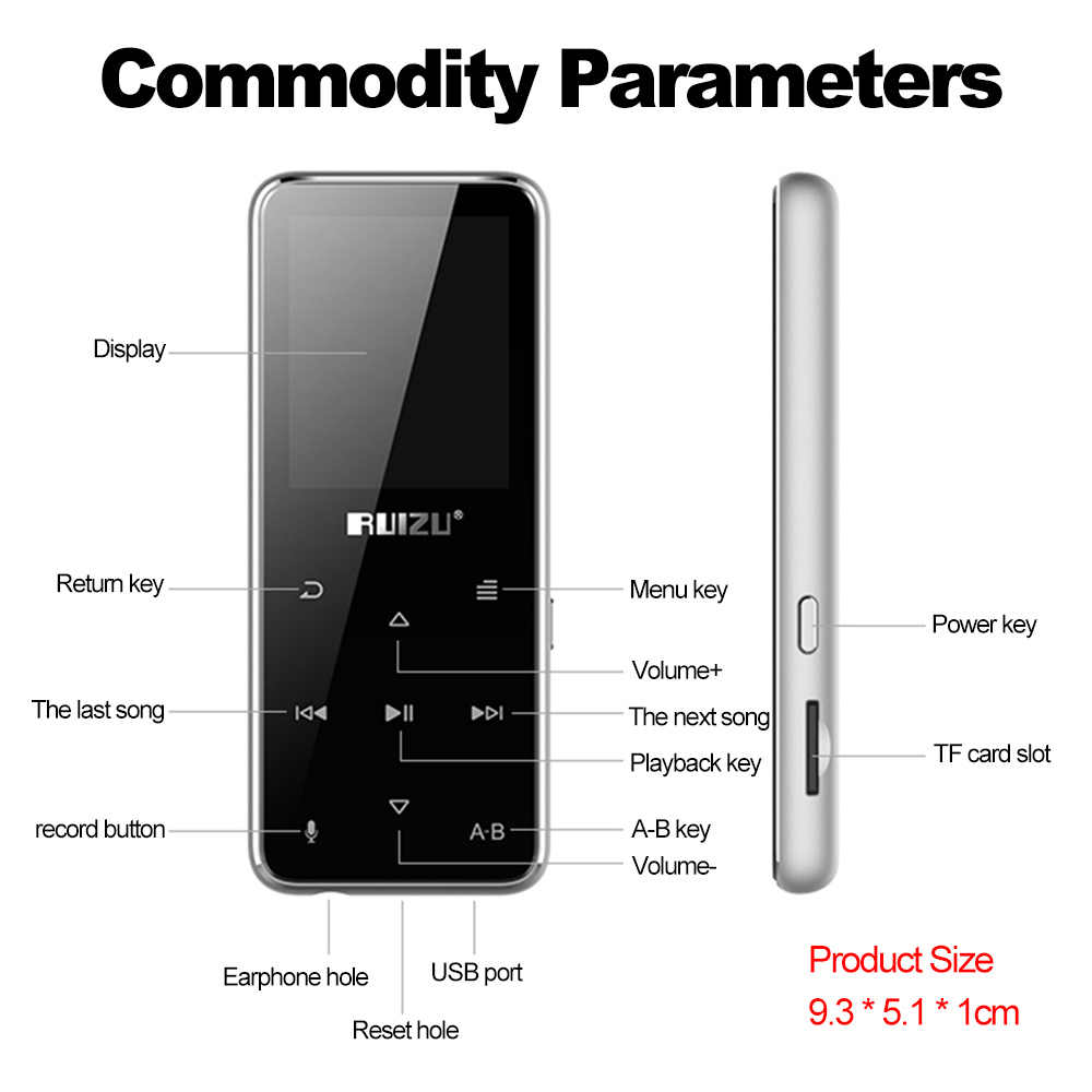 Ruизу X16 8 ГБ MP3 MP4 цифровой плеер 1,8 дюймов Bluetooth динамик музыкальный плеер аудио и видео плеер fm-радио электронная книга чтение TF карта