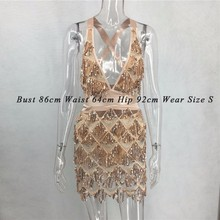 Summer Sexy Bodycon Dress Women Deep V Neck Tassel Sequined Bandage Dress Spaghetti Strap Backless Club Mini Party Dress Vestido
