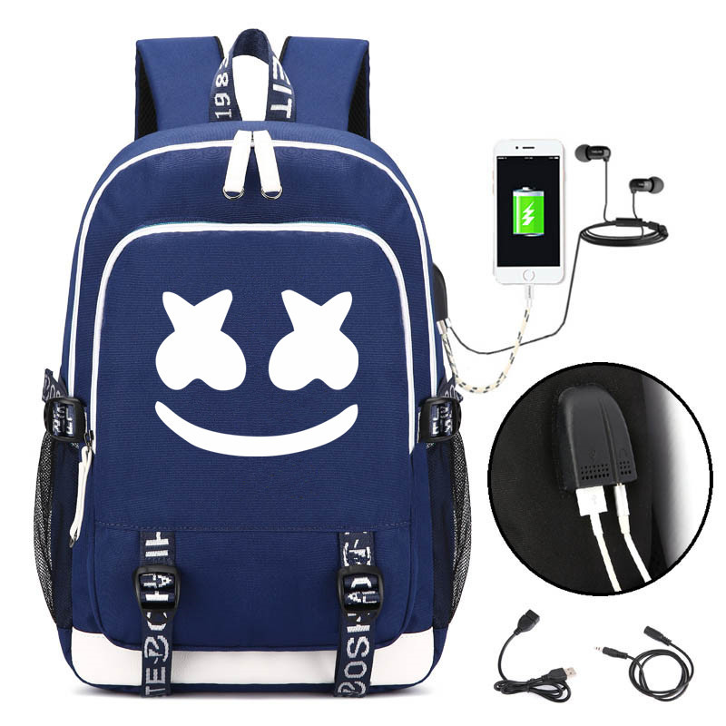 Marshmallow Cosplay Backpack DJ Marshmello Oxford Cloth Bag USB Schoolbag Unisex Daily Ruckpack Student Satchel Halloween