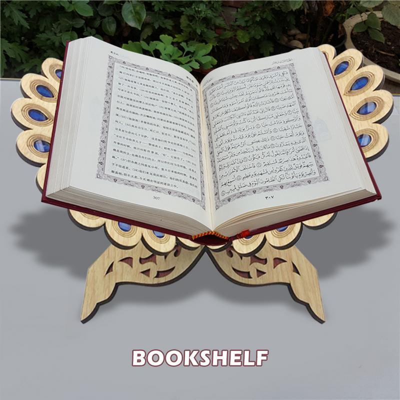 Alcorão muçulmano livro de madeira suporte prateleira decorativa removível ramadã allah islâmico presente artesanal madeira livro decoração