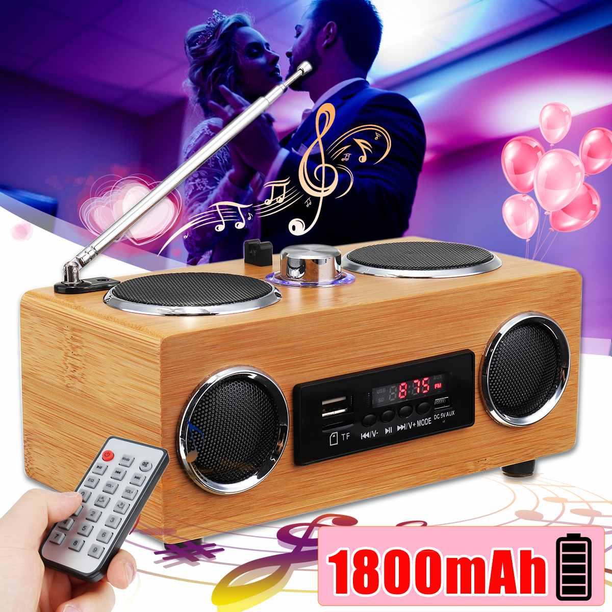 Rétro Vintage Radio Super basse FM Radio bambou multimédia haut-parleur classique récepteur USB avec lecteur MP3 télécommande