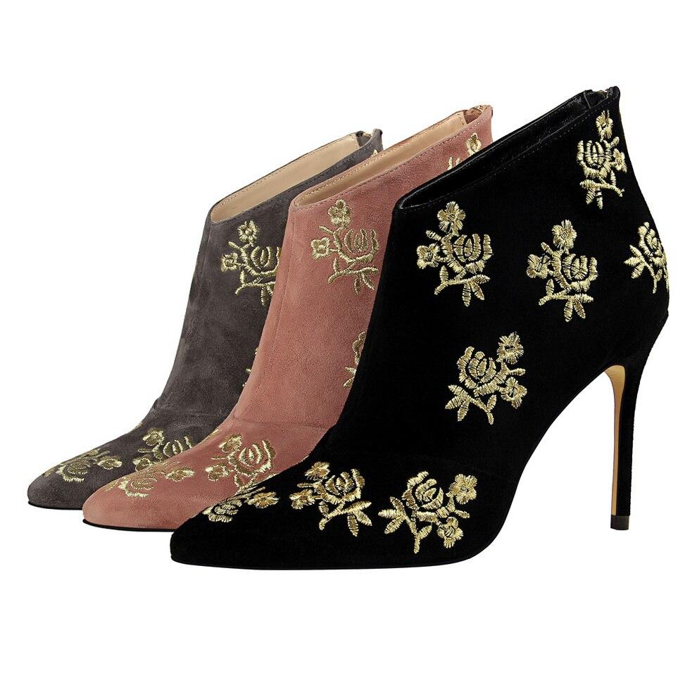 Stiletto Bottes D'été Cm Boots Boots Chaussures Genou Black Boots Fleur Pour Bottines pink 10 Talons Heels Haute Broderie Cheville Femmes grey De Hauts Printemps Bérets fZqdZCw